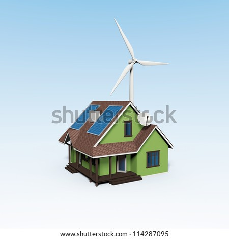 energy house with wind turbine and solar panels - stock photo