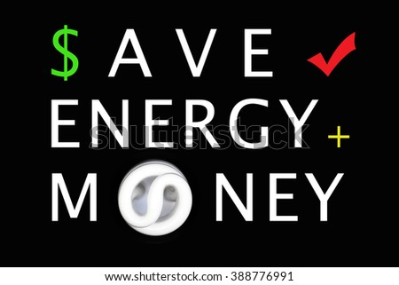 Energy, money saving concept - fluorescent light bulb on Black background - stock photo