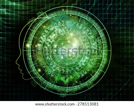 Energy of Geometry series. Interplay of abstract shapes, colors and elements on the subject of virtual reality, technology, science and design - stock photo