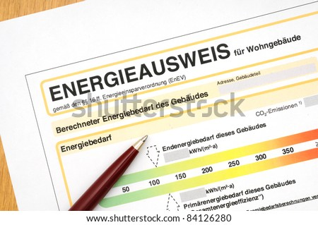 Energy performance certificate, like its used for german houses - stock photo