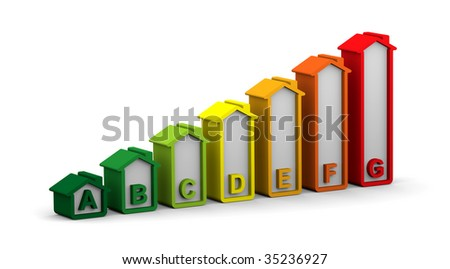 Energy performance scale applied to building assessment - stock photo