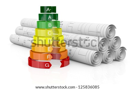 energy performance scale with a house project (3d render) - stock photo