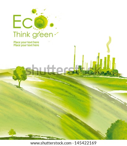 Energy plug.Illustration environmentally friendly planet. Green socket, plug, grass and splash of paint,from watercolor stains,isolated on a white background. Think Green. Ecology Concept. - stock photo