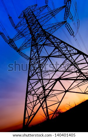 Energy pollution concept. Wallpaper with power tower providing electricity - stock photo