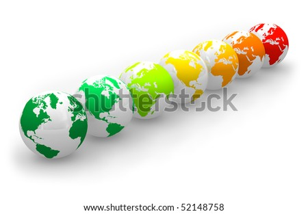 Energy rating scale from Earth globes - stock photo