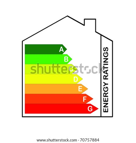 Energy Ratings Scale inside a house image - stock photo