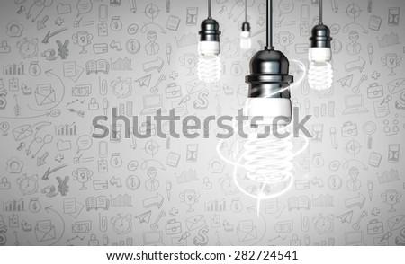 Energy saver bulb on white vignitting bussiness icon background. - stock photo