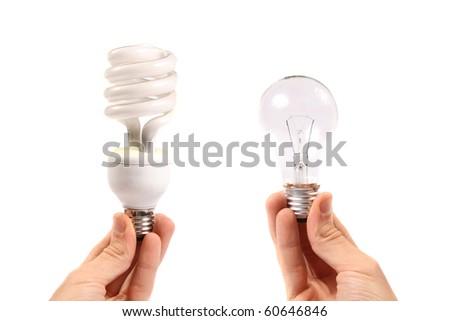 energy saving and filament bulb - stock photo