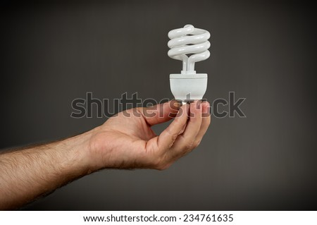 Energy-saving bulb CFL in man'??s hand