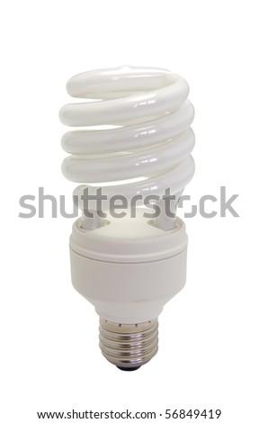 Energy saving bulb isolated on white background - stock photo