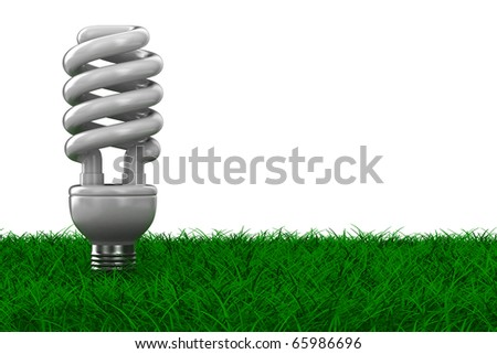 energy saving bulb on grass. Isolated 3D image - stock photo
