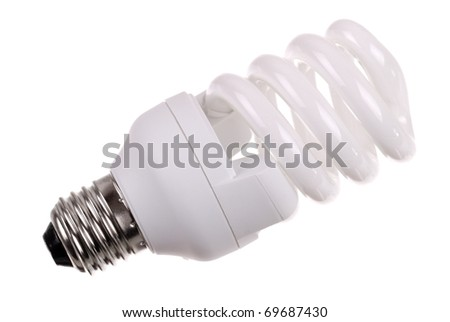energy saving bulb on white background - stock photo