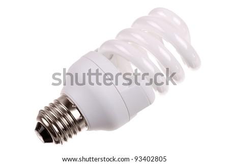 energy saving bulb on white background - stock photo