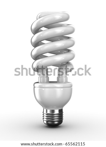 energy saving bulb on white background. Isolated 3D image - stock photo