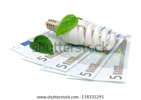energy-saving bulbs and the European currency isolated on white background close-up - stock photo