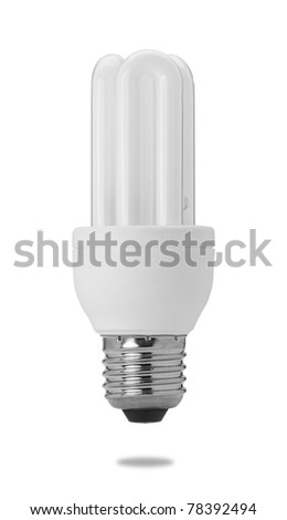 energy saving compact fluorescent light bulb isolated on white - stock photo
