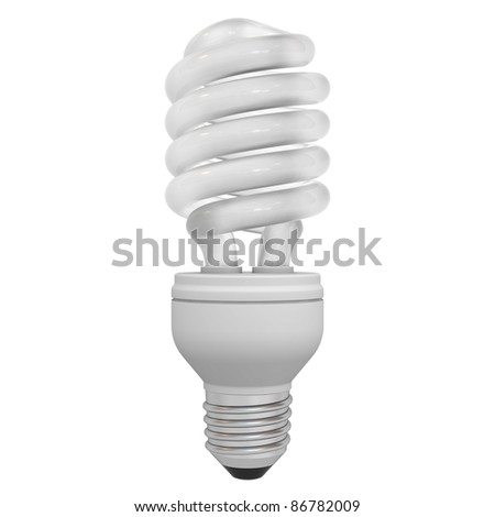 Energy saving compact fluorescent light bulb isolated on white background - stock photo