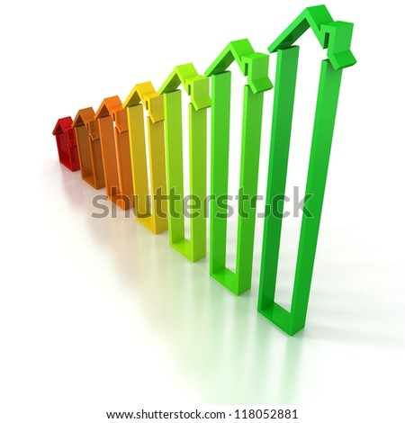 Energy saving concept rising house bar chart - stock photo