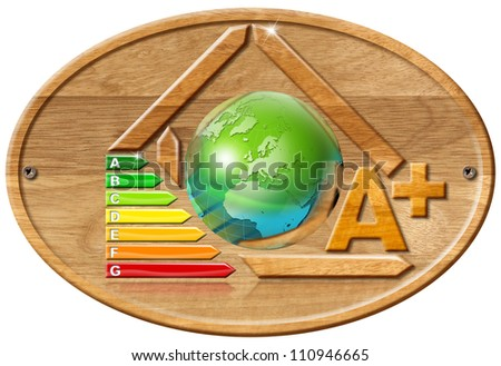 Energy Saving Concept Wooden house stylized with certification electric output and earth - stock photo