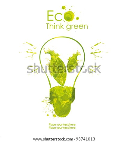 Energy saving eco lamp hand drawn, isolated on a white background - stock photo