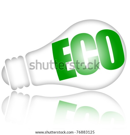 Energy saving eco lamp with green inscription isolated over white background