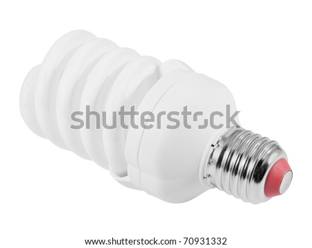 Energy saving fluorescent light bulb (CFL E27 socket). Isolated on white background with clipping path. - stock photo
