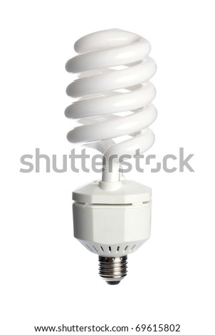 Energy saving fluorescent  light bulb (CFL) isolated on a white background. - stock photo