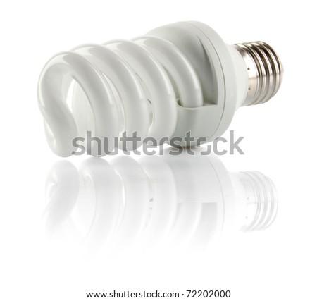 Energy saving fluorescent light bulb, isolated on white background - stock photo