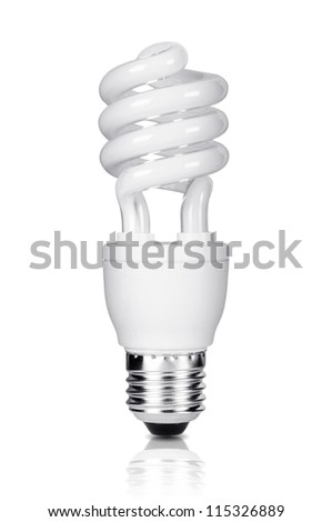 Energy saving fluorescent light bulb isolated on white background. Clipping path included. - stock photo