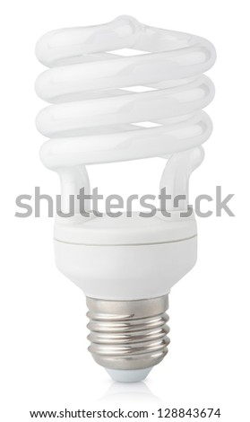 Energy saving fluorescent light bulb isolated on white with clipping path