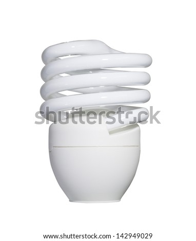 Energy saving fluorescent light bulb isolated with clipping path - stock photo