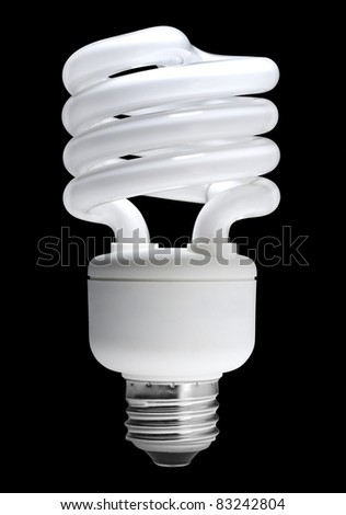 Energy saving fluorescent light bulb, isolated with clipping path - stock photo