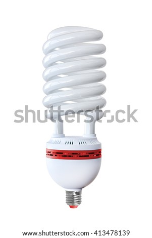 Energy saving fluorescent light bulb on a white background - stock photo