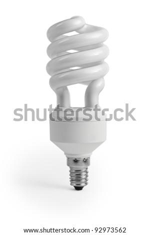 Energy saving fluorescent light bulb on white - stock photo