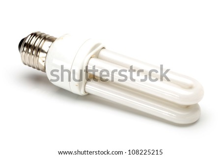 Energy saving fluorescent light bulb on white bakground - stock photo