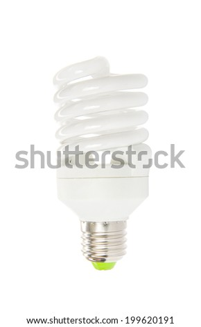 Energy saving fluorescent light bulb on white bakground - stock photo