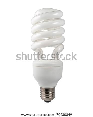 Energy Saving Fluorescent Lightbulb Isolated on White Background - stock photo