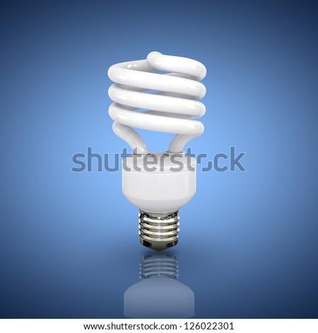 Energy saving fluorescent lightbulb on blue ba?kground - stock photo