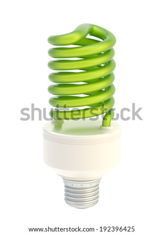 Energy saving green bulb isolated over the white background - stock photo