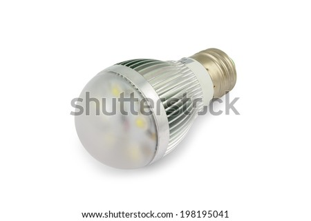 Energy saving High power LED light bulb E27. Isolated on white background with clipping path. - stock photo