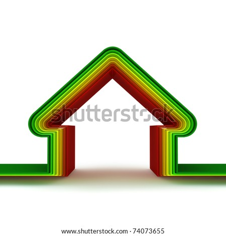 energy saving home scale.  Energy saving concept. 3d render. - stock photo