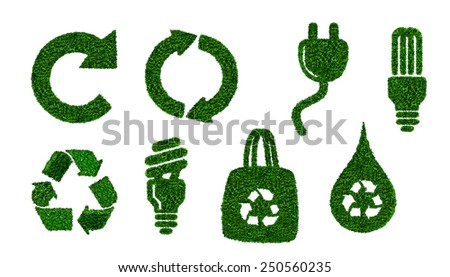 energy saving icons, used by green leafs on white background - stock photo