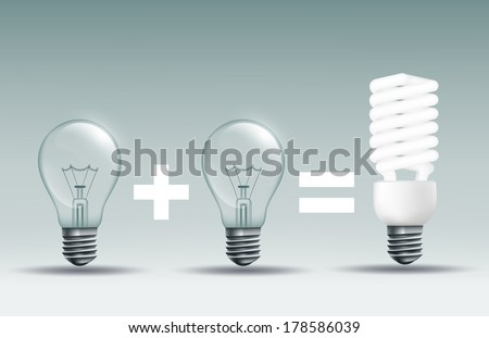 energy saving lamp and incandescent lamp on a dark background