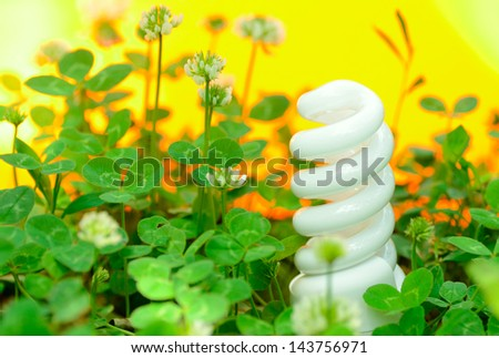 energy-saving lamp in green grass - stock photo