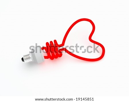 Energy saving lamp in the shape of the heart - stock photo