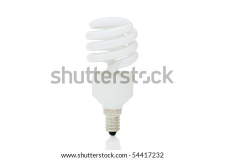 Energy saving lamp isolated on the white background - stock photo