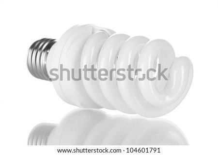 Energy saving lamp isolated on white - stock photo