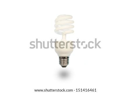 energy saving lamp isolated on white background 3D - stock photo