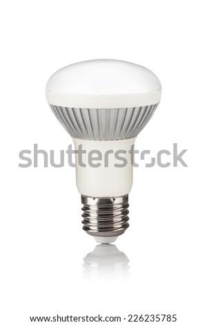 Energy saving LED light bulb isolated on a white bakground - stock photo