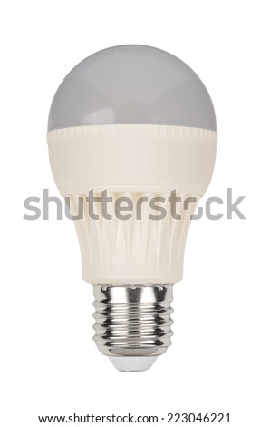 Energy saving LED light bulb isolated on white. With clipping path - stock photo